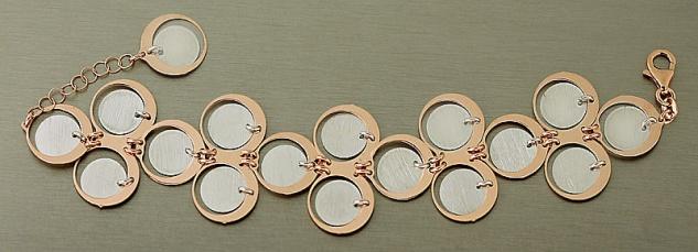 Designer Armband Silber 925 Rosegold breites Armband Armkette Rotgold vergoldet