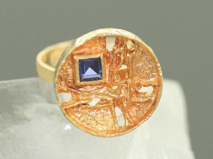Designerring 585 Gold massiv - Goldring - ungewöhnlicher Ring - Damenring 14 kt