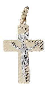 Kreuz Gold 14 Karat mit Korpus bicolor Anhänger kleines Goldkreuz Gold 585