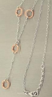 Silberkette 925 mit Mittelteil bezauberndes Collier Halskette Silber Rotgold