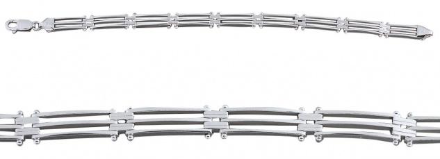 20 cm massives Silberarmband 925 gerade Linien breites Armband Silber - Armkette