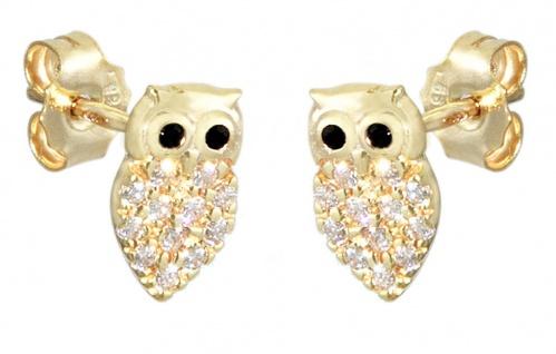 Kleine Eulen Ohrstecker Gold 585 mit Zirkonias Ohrringe Eule Kinder Mädchen