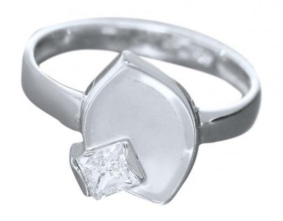 Designer Silberring 925 Blatt mit Zirkonia Carree super Ring echt Sterlingsilber