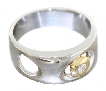 Edler Ring Weißgold 585 - 14 karat Gold, Goldring mit 1 Brillant, bicolor