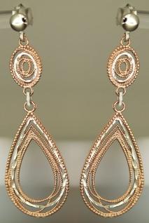 Tropfen Ohrhänger Silber 925 Rotgold - Ohrstecker lange Silberohrhänger Ohrringe