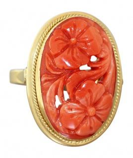 Goldring 750 mit Korallenblumen Ring mit Koralle Korallenring Damenring 18 Kt