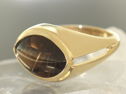 Goldring mit Rauchtopaz Ring Gold 375 großer Rauchquarz Damenring Solitär