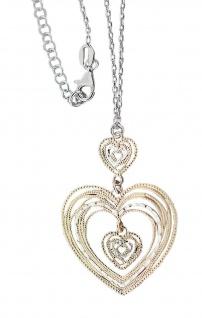 Silberkette 925 Kette mit Herz Anhänger bicolor Collier Halskette Damen