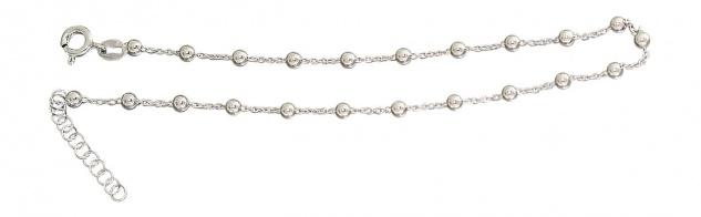 Trendy Fußkette Silber 925 Kugelkette Kugel Fußkettchen rhodiniert Silberkette