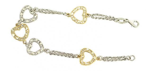 Massives Silberarmband 925 mit Herzen in Gold und Silber Armband Armkette - Herz