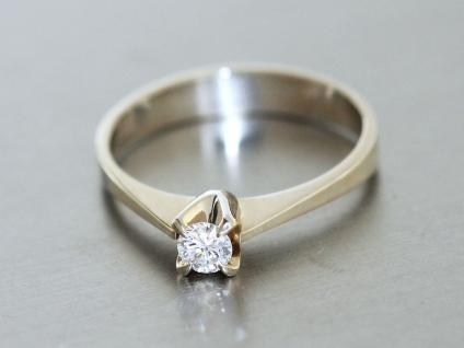 Ring Weissgold 585 mit 1 Brillant, Weissgold Ring 14 kt Gold, Solitärring