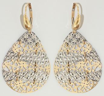 Große bewegliche Ohrhänger Gold 585 bicolor Ohrringe Tropfen Goldohrhänger 14 kt