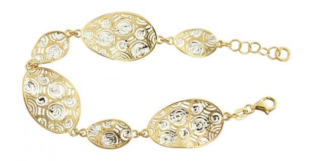 Breites Armband Silber 925 vergoldet - Silberarmband massiv - Armband Gold Kette - Vorschau 1