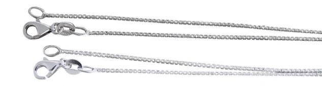 Silberkette 925 Venezianerkette feine massive Halskette Silber 42 cm Karabiner