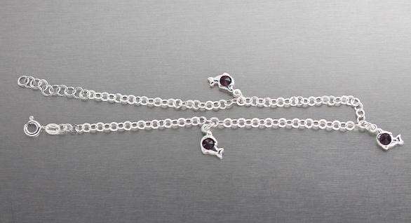 Fußkettchen Silber 925 mit Delfinen und lila Zirkonias Fußkette - Silberkette