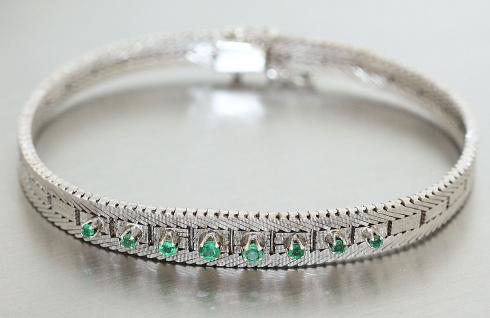 Armband Weißgold 585 mit Smaragd - Weißgoldarmband - 14 kt Gold - Armreif