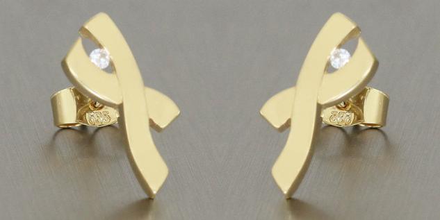 Moderne Ohrstecker Gold 585 mit Brillant Goldohrstecker Brillantohrringe 14 kt - Vorschau 2