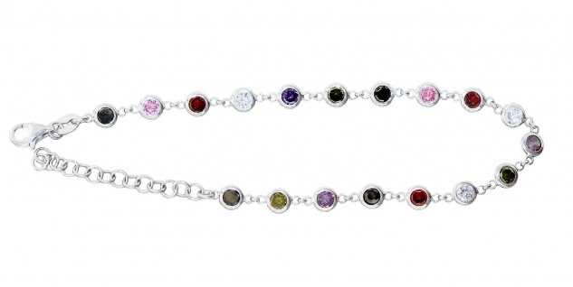 Armband Silber 925 Zirkonias multicolor Armkette bunt Damen variabel bis 20 cm