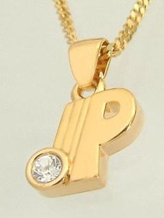 Buchstabe P Schmuckset Goldkette pl Anhänger P Zirkonia Panzerkette Halskette