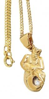 Sternzeichen goldener Wassermann mit Zirkonia Goldkette Panzerkette pl Anhänger