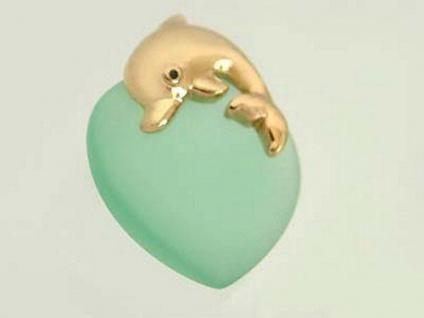 Anhänger Herz mit bezauberndem Delfin Gold 375 Golddelfin Goldanhänger Herz