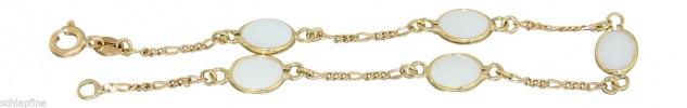 Opal Armband Gold 750 Goldarmband mit Milchopal Damenarmband Armkette 18 Karat