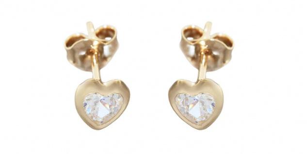 Ohrstecker Gold 585 Herzen Zirkonia Ohrringe Damen Mädchen Herz Ohrschmuck