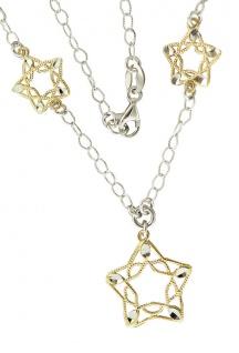 Sternenkette echt Silber 925 Silberkette Collier Stern Halskette vergoldet