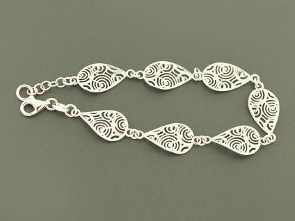 Armband Silber 925 massiv - trendy Silberarmband rhodiniert - Design Armkette
