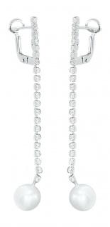 Langer beweglicher Ohrschmuck Weißgold 585 mit Perle und Zirkonias Ohrhänger
