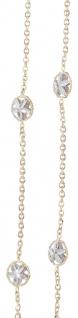 Goldkette 750 / 18 kt bicolor Collier mit Stern Dekor 50 cm feine Halskette Gold