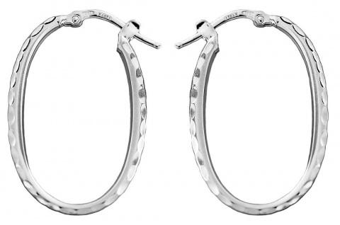 Ovale Creolen Weißgold 585 Ohrringe mit Struktur Ohrschmuck 14 kt