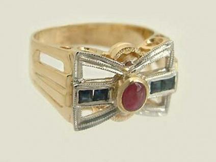 Goldring 585 Ring Schleife mit Saphiren und Rubin super Damenring Ring Gold