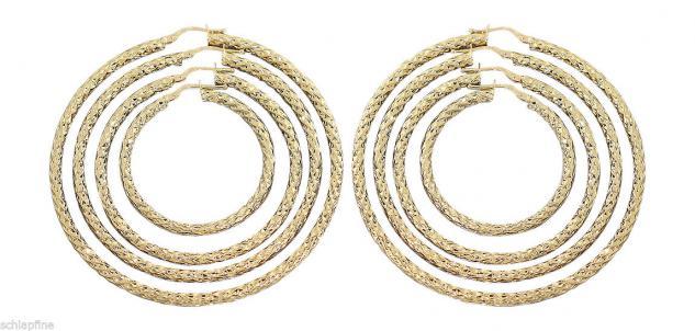 3, 6 cm / 4, 6 cm / 5, 6 cm / 6, 6 cm Große Creolen Gold 585 Ohrringe Goldcreolen