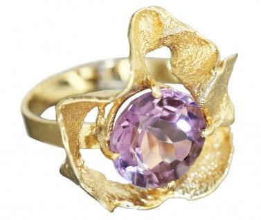 Ring Gold 585 Amethyst Goldring 4, 5 gr. Design 80er Jahre Damenring RW52