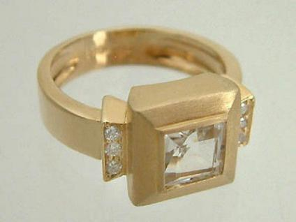 Luxusring Gold 585 mit Brillanten und Bergkristall Goldring Damenring Ring