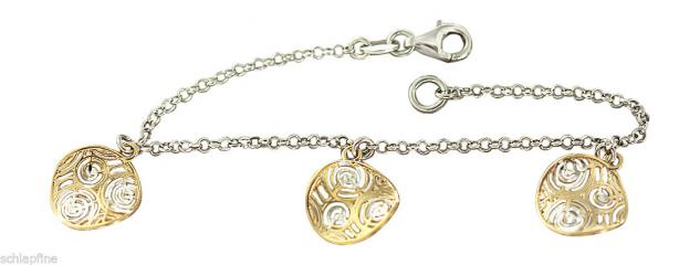 Top Design - Armband massiv Silber 925 - Silberarmband Armkette - Gold Anhänger