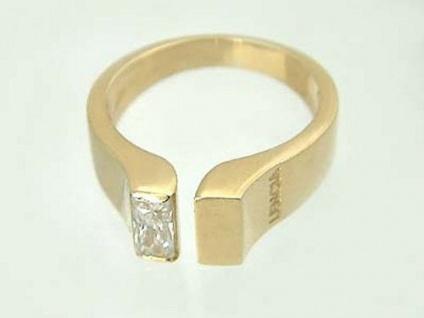 Goldring 585 mit Zirkonia Baguette - Ring Gold - moderner Damenring Solitärring