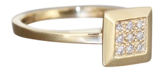 Brillantring Gold 585 - Ring Quadrat Goldring m Brillanten Damenring Diamantring