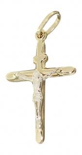 Anhänger Kreuz Gold 585 mit Korpus Kettenanhänger Goldkreuz Kommunion 14 Karat
