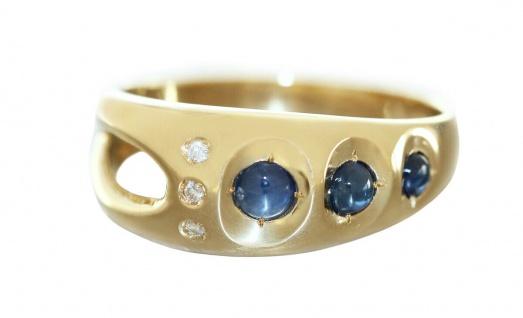 Ring Gold 585 Brillanten 0, 08 ct. Saphir Damen Diamantring RW 56