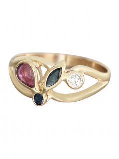 Multicolor - Rubin Saphir Zirkonia - Ring Gold 585 - Damenring - Goldring 14 kt