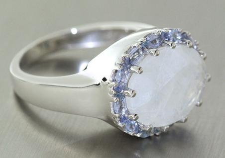 Toller Ring Weißgold 333 mit Mondstein und Tansanit Weißgoldring 10, 8gr Goldring