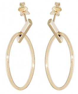 Ohrhänger Gold 585 Ohrstecker ovale Ohrringe Gelbgold 14 Karat Damen Ohrschmuck