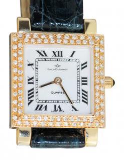 Golduhr 585 mit 62 Brillanten Damenuhr Gelbgold Brillantuhr mit Lederband