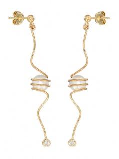 Lange Ohrhänger Silber 925 vergoldet mit Perle und Zirkonia Ohrstecker Gold
