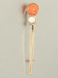 Zarte Brosche mit Koralle und Perle - Goldbrosche 12 kt Gold - Jahrhundertwende