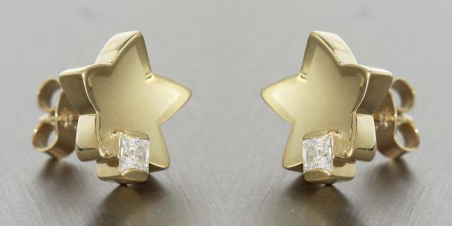 Designer Stern Ohrschmuck Ohrstecker Gold 585 mit Zirkonia Goldohrstecker Sterne