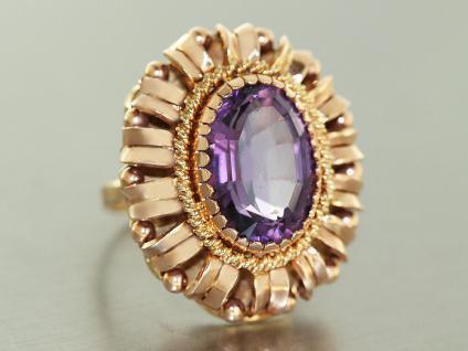 Großer ovaler Ring Gold 585 Amethyst Goldring RW 52 Damen 9, 5 gr.