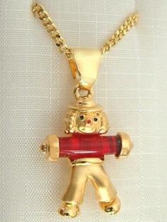 Panzerkette mit Clown Anhänger Gold pl Goldkette pl Goldclown mit Halskette